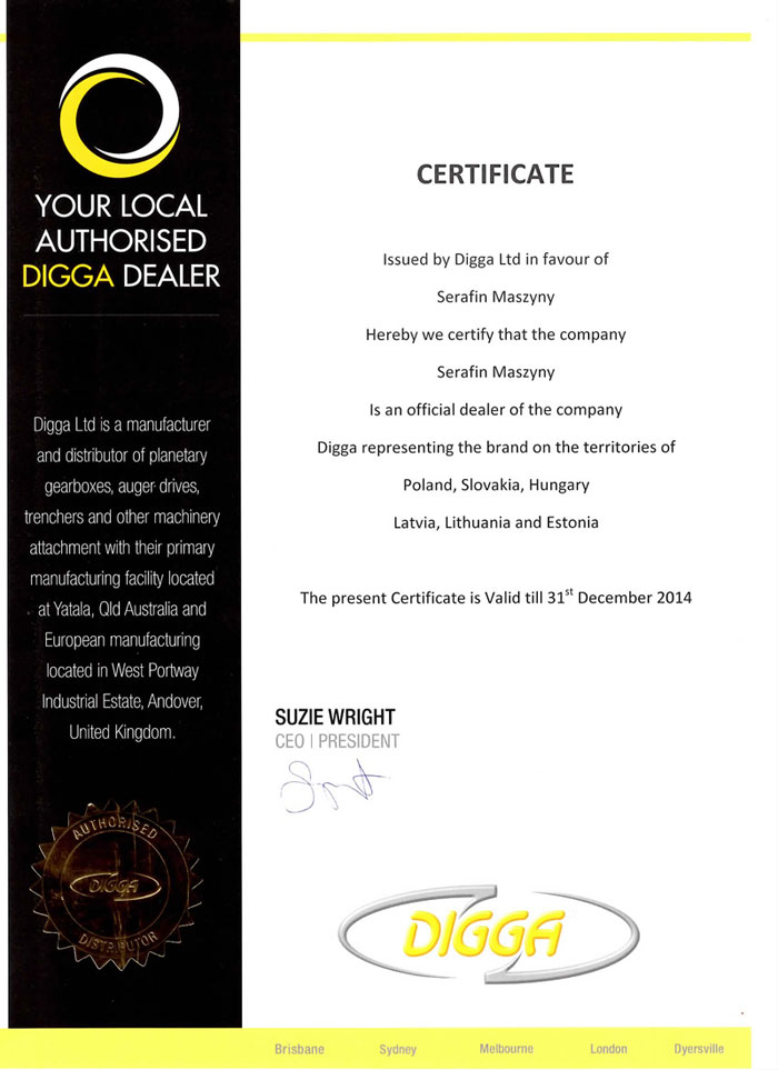 Certificate of Dealership